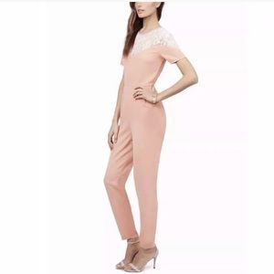Tobi Mrs. Bond Blush Pink Lace Jumpsuit